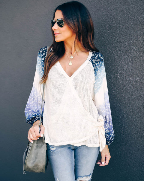Jazlyn Contrast Knit Wrap Top  - FINAL SALE