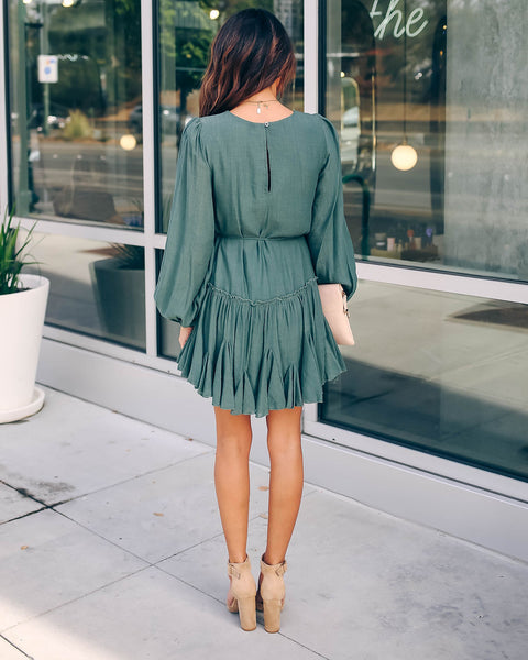 Turn For The Better Ruffle Dress - Green