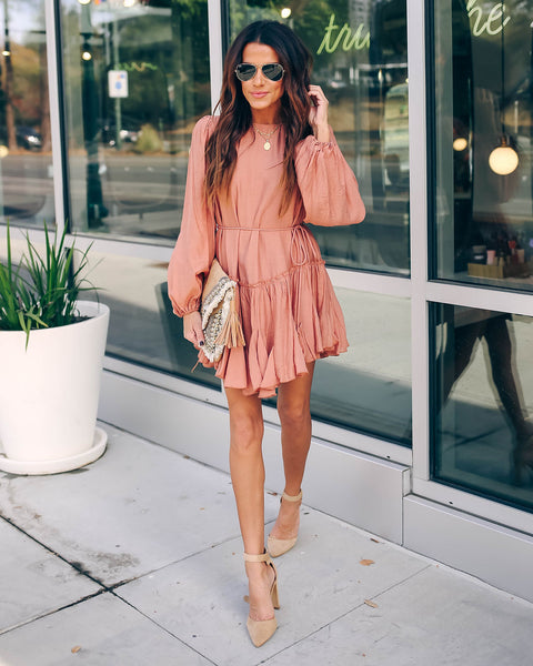 Turn For The Better Ruffle Dress - Rose