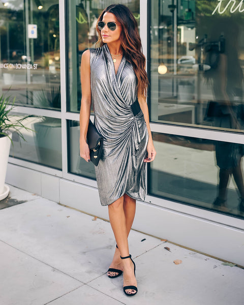 Modern Twist Metallic Wrap Dress