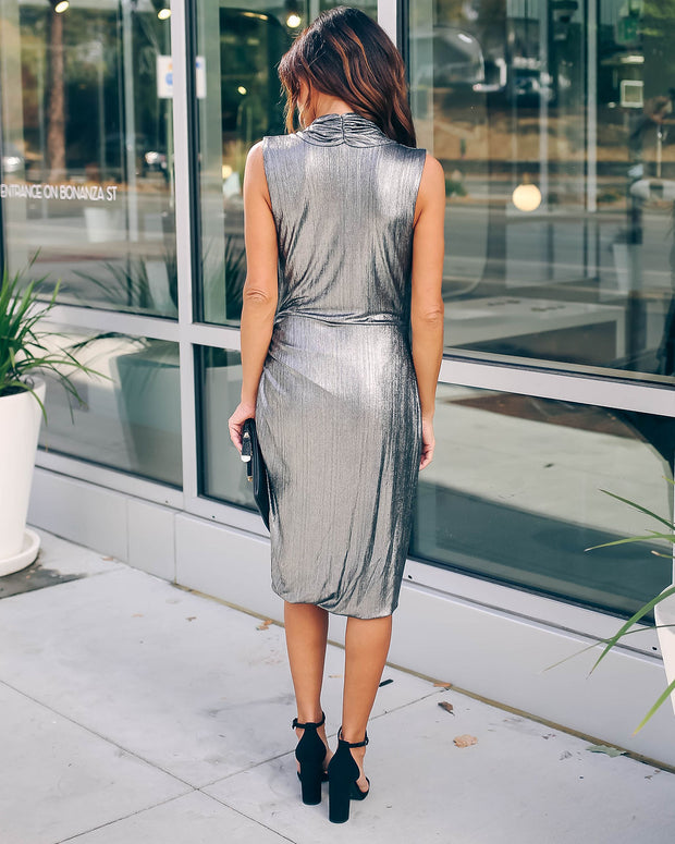 Modern Twist Metallic Wrap Dress  - FINAL SALE