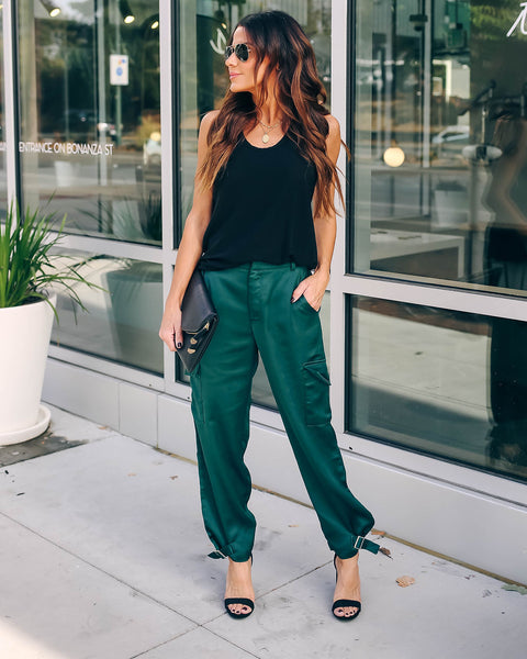 Influence Pocketed Satin Cargo Pants - Forest Green