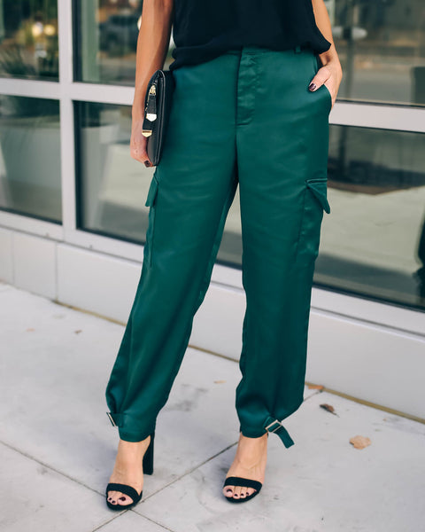 Influence Pocketed Satin Cargo Pants - Forest Green - FINAL SALE