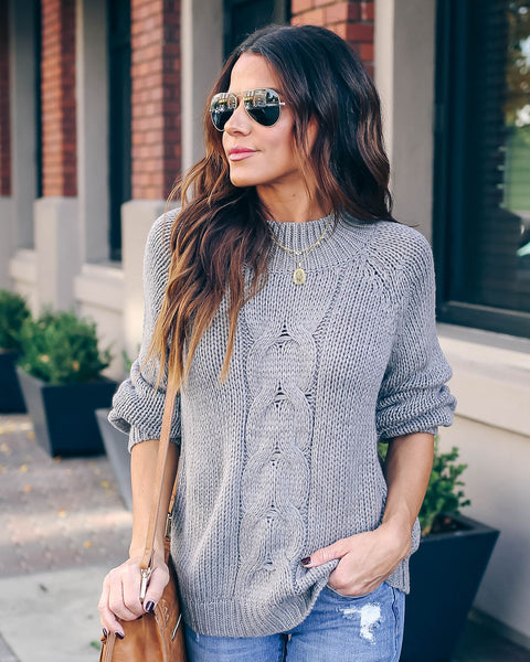 Do You Believe Cable Knit Mock Neck Sweater - Grey  - FINAL SALE