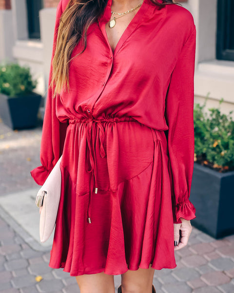 Moody Button Down Satin Ruffle Dress