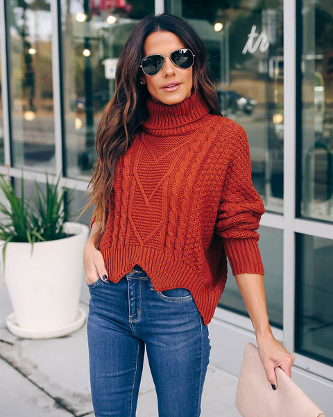 Kane Cropped Cable Knit Turtleneck - Rust