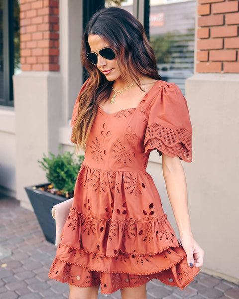 Lance Ruffle Tiered Eyelet Dress - FINAL SALE