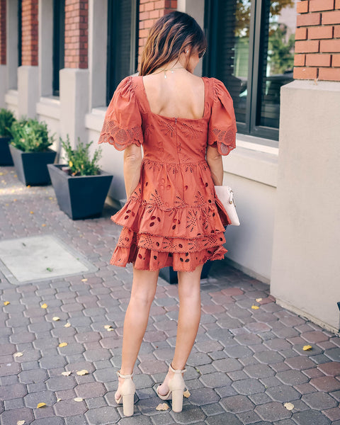 Lance Ruffle Tiered Eyelet Dress
