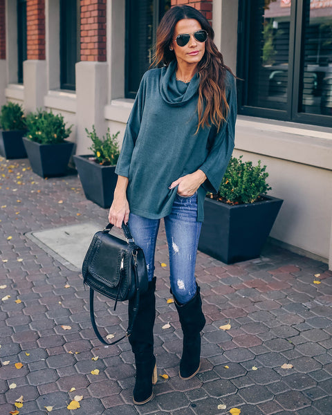 Riddle Cowl Neck Knit Top - Teal