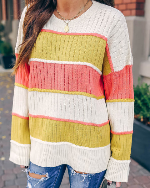 Sunshine In My Pocket Colorblock Knit Sweater  - FINAL SALE