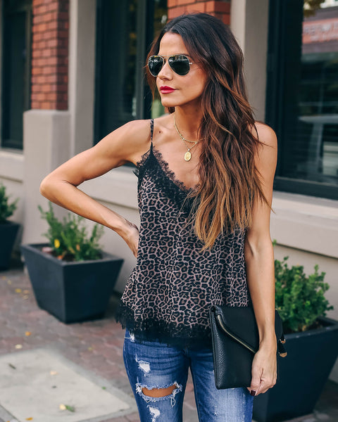 Spice Things Up Cheetah Lace Cami Tank