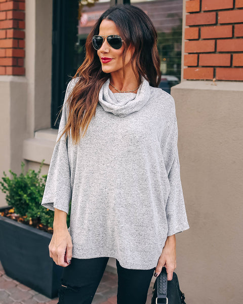Riddle Cowl Neck Knit Top - Heather Grey