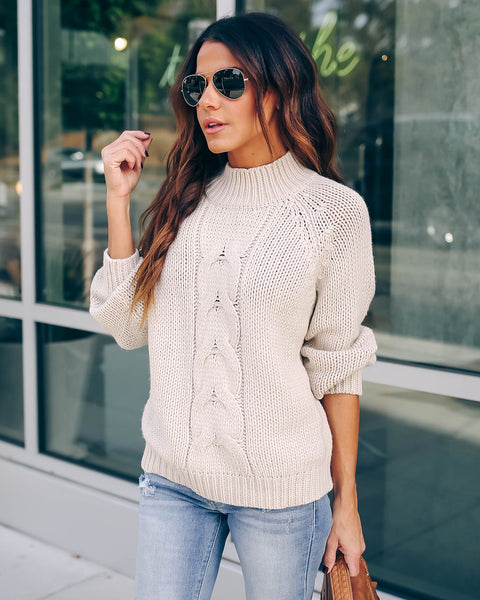 Do You Believe Cable Knit Mock Neck Sweater - Natural  - FINAL SALE