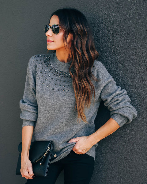 Cold But Beautiful Embellished Knit Sweater