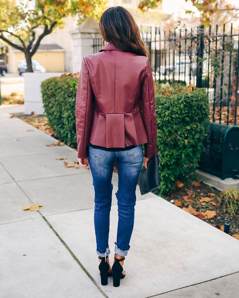 Willis Faux Leather Peplum Jacket - FINAL SALE