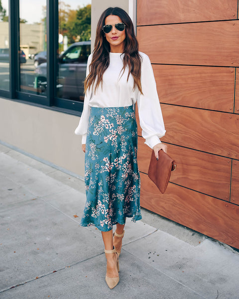 Do It With Passion Floral Midi Skirt - FINAL SALE