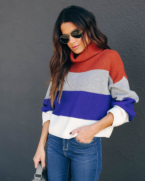 Reno Colorblock Turtleneck Sweater
