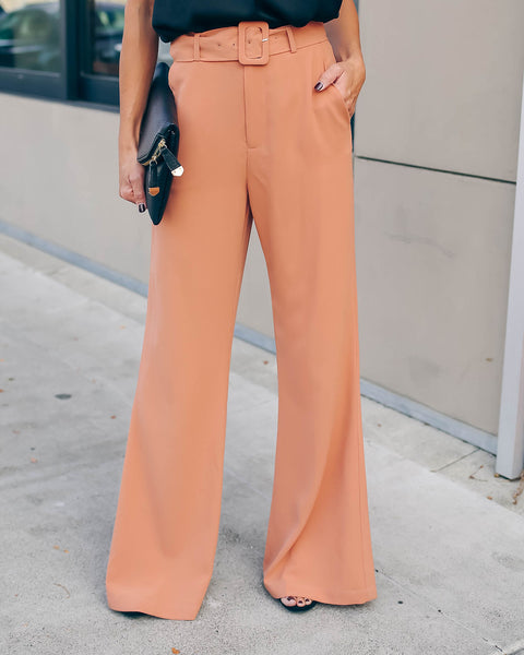 Superior Pocketed Belted Wide Leg Trousers - Camel - FINAL SALE