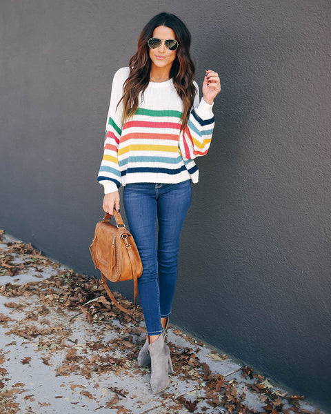 Artistry Cotton Striped Knit Sweater