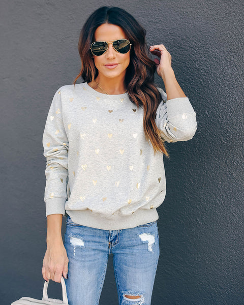 Gold Hearted Cotton Blend Pullover