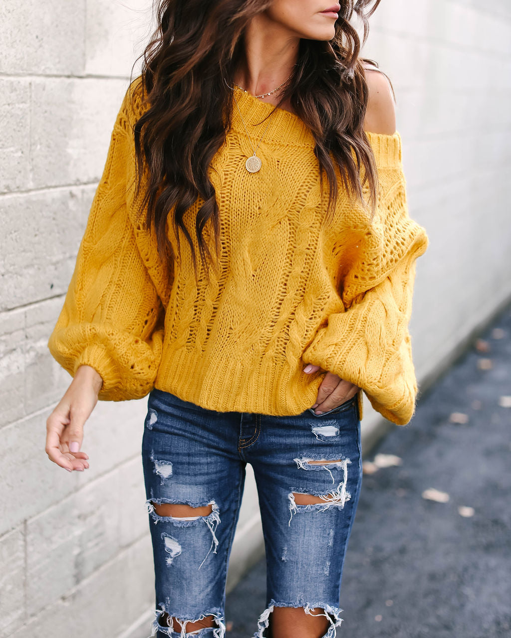 Love On Top Cable Knit Sweater - Mustard - FINAL SALE – VICI 019659cb4