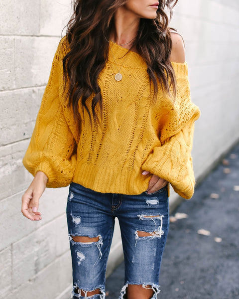 Love On Top Cable Knit Sweater - Mustard - FINAL SALE