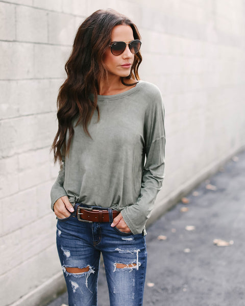 Halite Mineral Wash Long Sleeve Top - Olive