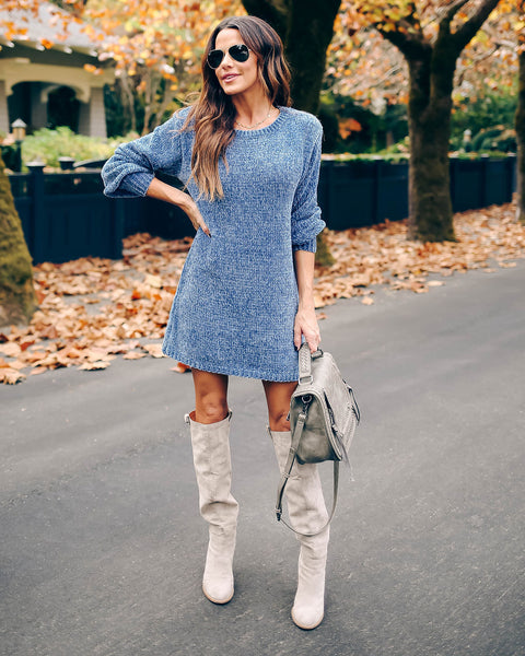 Crystalline Chenille Sweater Dress - Blue
