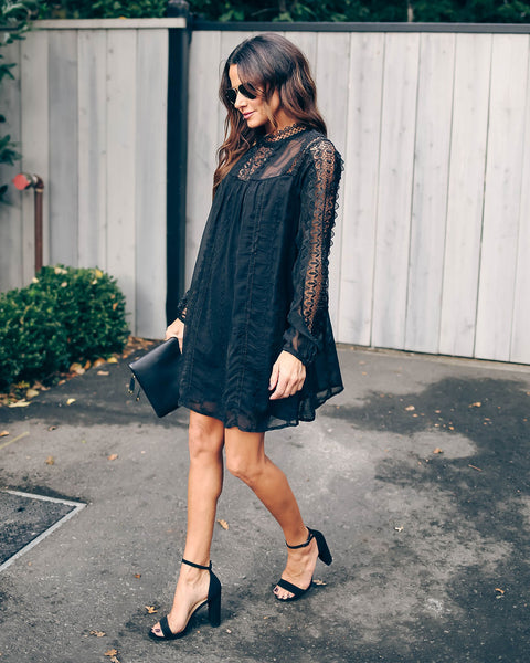 Sarasota Crochet Eyelet Tunic - Black - FINAL SALE