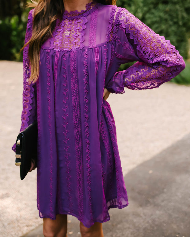 Sarasota Crochet Eyelet Tunic - Purple - FINAL SALE