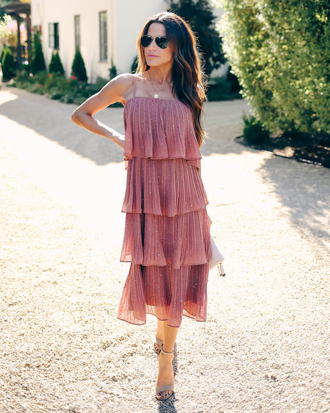 Cha Cha Slide Ruffle Tiered Embellished Dress - FINAL SALE