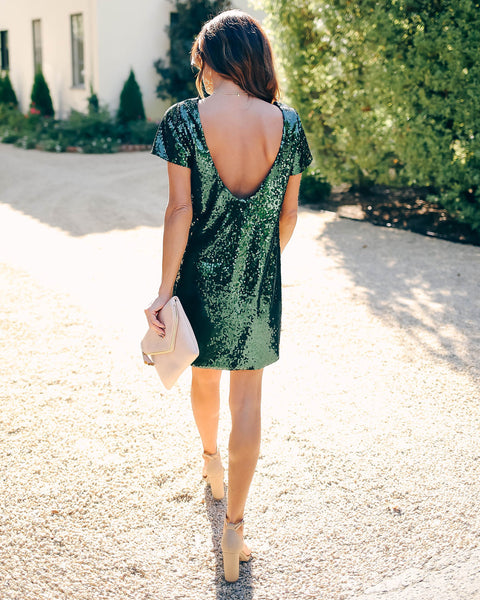 Tabloid Sequin Cut Out Shift Dress - Hunter Green   - FINAL SALE