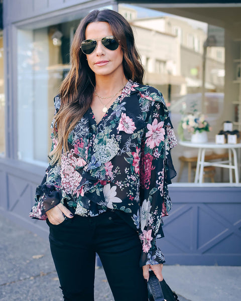 The Rest Is History Button Down Ruffle Blouse