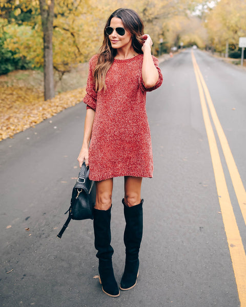 Crystalline Chenille Sweater Dress - Rust - FINAL SALE