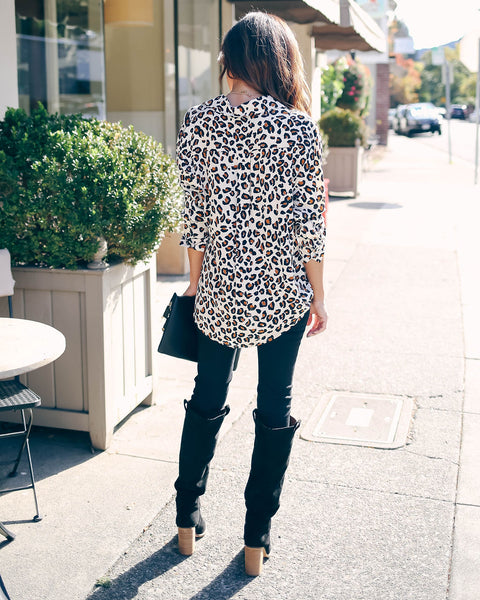 Joey Button Down Leopard Top