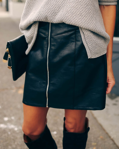 Zip It Faux Leather Mini Skirt  - FINAL SALE