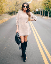 Crystalline Chenille Sweater Dress - Taupe