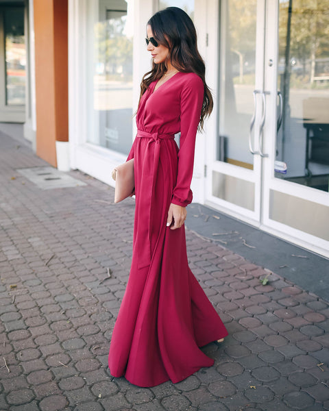 Read My Mind Long Sleeve Maxi Dress - Dusty Pink - FINAL SALE