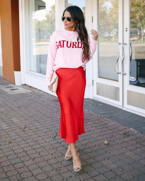 Red Lips Satin Midi Skirt