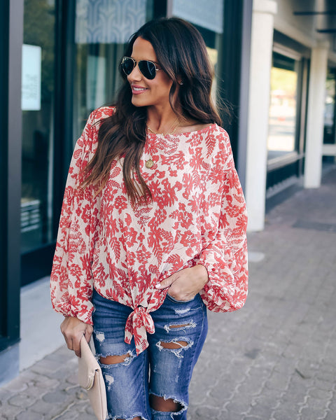 Arrive In Style Shimmer Printed Tie Blouse - FINAL SALE