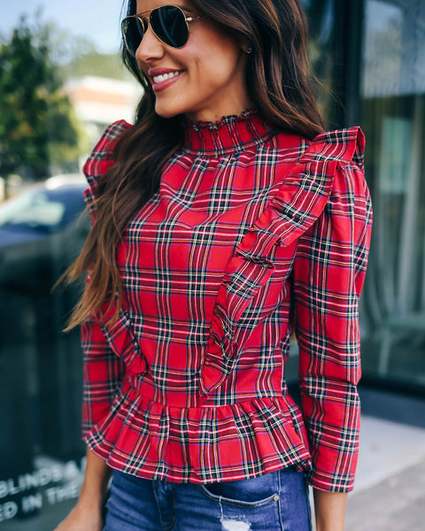 Autumn Skies Pumpkin Pies Plaid Ruffle Top - Red