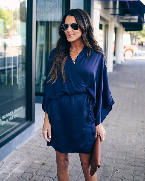 World At Your Fingertips Wrap Kimono Dress - Navy - FINAL SALE