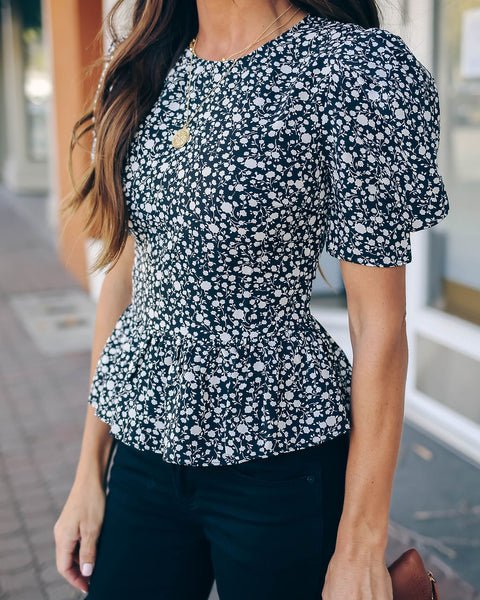 Please And Thank You Floral Peplum Top - FINAL SALE