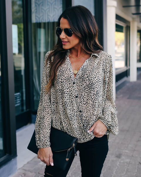 Kaelan Button Down Leopard Drape Blouse