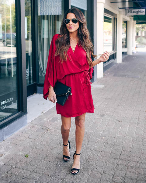 World At Your Fingertips Wrap Kimono Dress - Burgundy