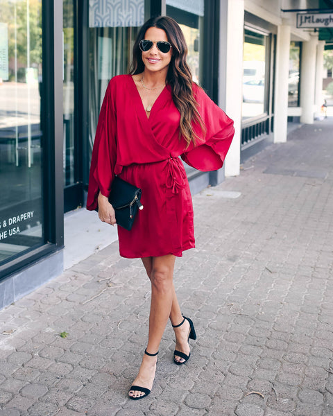 World At Your Fingertips Wrap Kimono Dress - Burgundy - FINAL SALE
