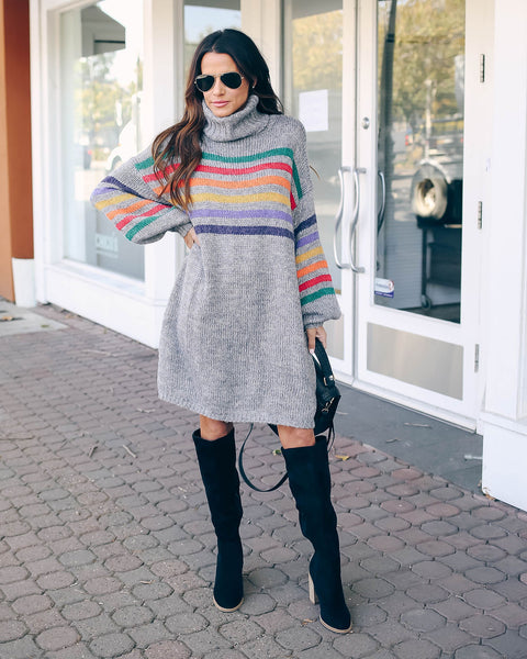 Caelynn Striped Balloon Sleeve Sweater Dress