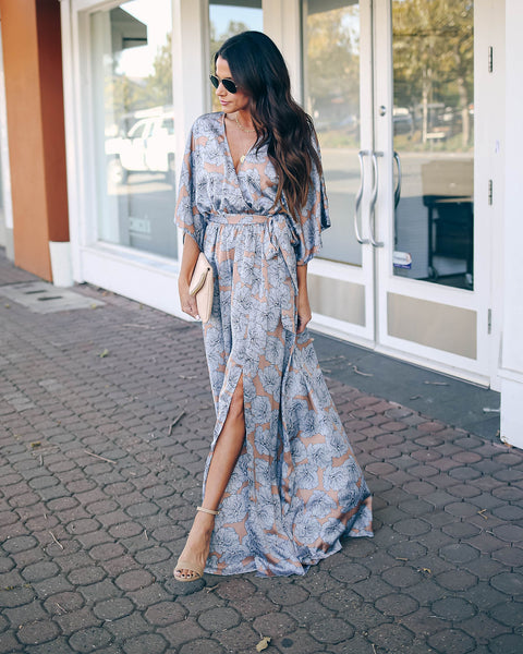 Crack Of Dawn Floral Kimono Maxi Dress