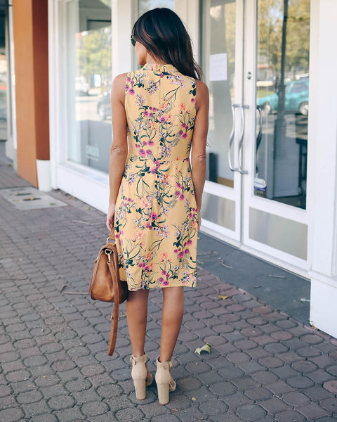 Succulent Garden Sleeveless Dress   - FINAL SALE