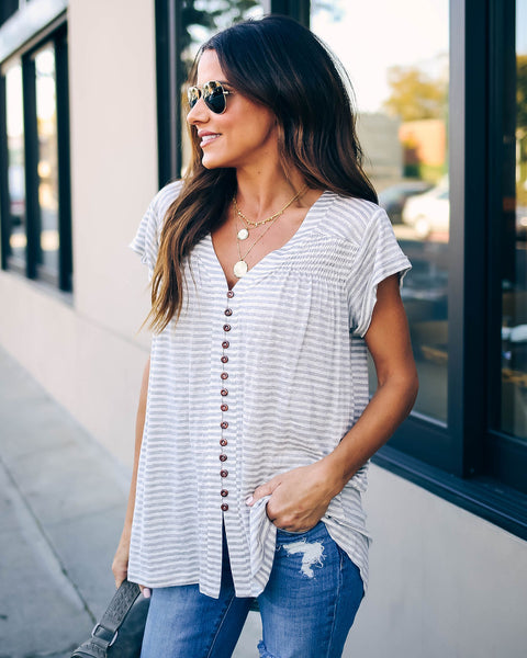 Lynsey Striped Button Down Tee - FINAL SALE